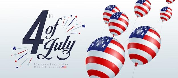 Dia da independência eua modelo de banner decoração de bandeira americana de balões. 4 de celebração de julho