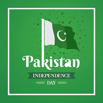 Dia da independência feliz o 14 de agosto paquistão cartão comemorativo