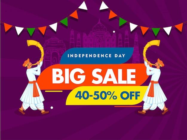 Dia da independência grande venda cartaz linha arte índia monumentos famosos e dois homens soprando chifre de tutari no fundo de raios roxos.