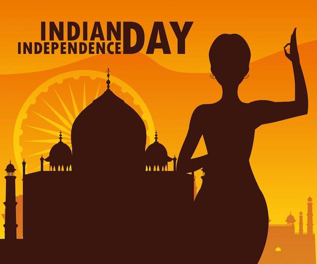 Dia da independência indiana com silhueta de mulher e mesquita