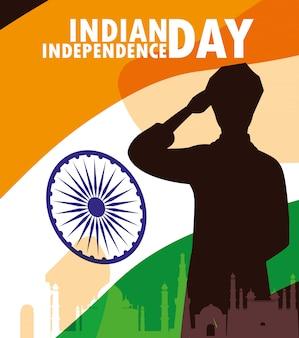 Dia da independência indiana etiqueta com e bandeira