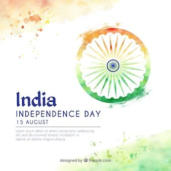 Dia da independência indiana fundo aquarela