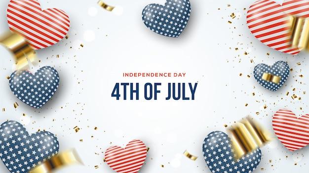 Dia da independência julho estados unidos américa com ilustração de balão.