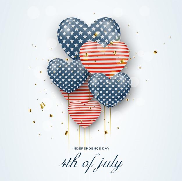 Dia da independência julho estados unidos da américa, com ilustrações de balões vermelhos e azuis.
