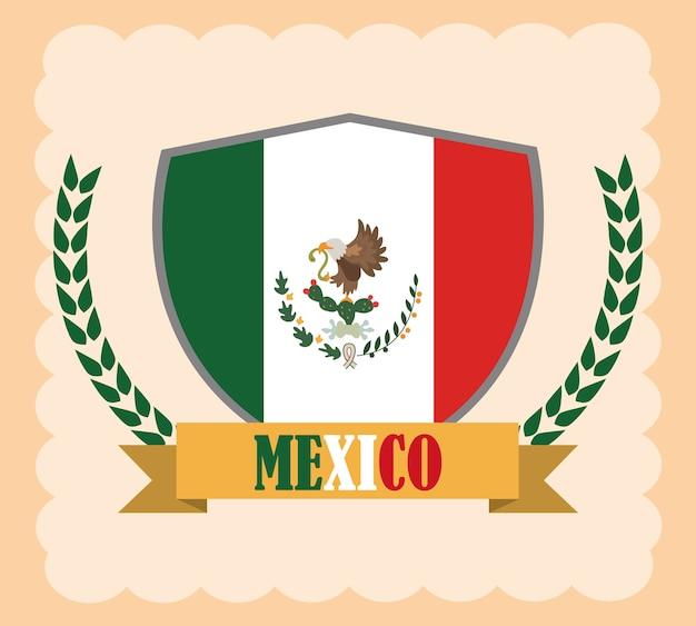 Dia da independência mexicana, bandeira do méxico no emblema do escudo, comemorado na ilustração de setembro