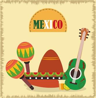 Dia da independência mexicana, chapéu de guitarra, maracas e drink shot, comemorado na ilustração de setembro