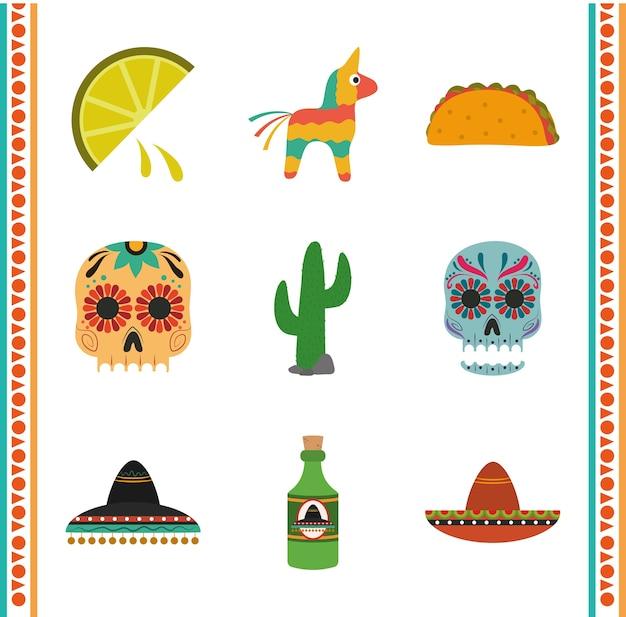 Dia da independência mexicana, comemorado no festival de setembro, cultura ilustração de ícones tradicionais