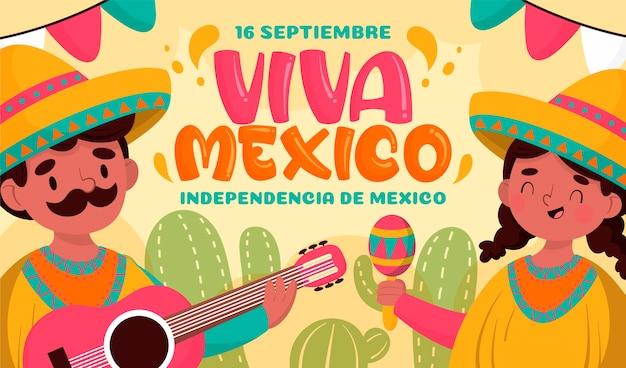 Dia da independência mexicana de mão desenhada