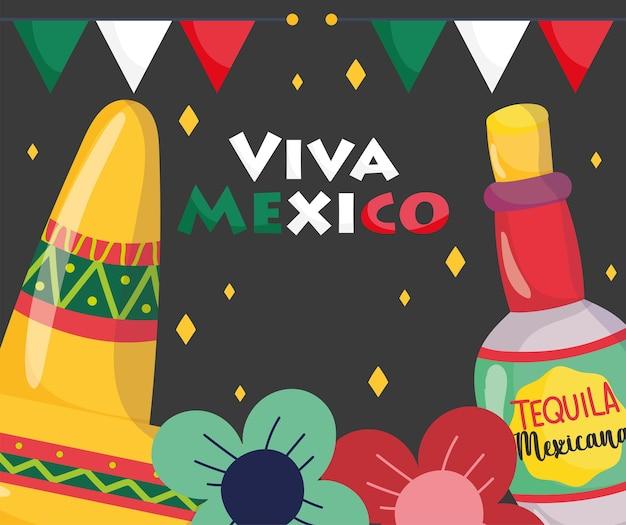 Dia da independência mexicana, decoração com flores de garrafa de tequila com chapéu, viva méxico é comemorado na ilustração de setembro