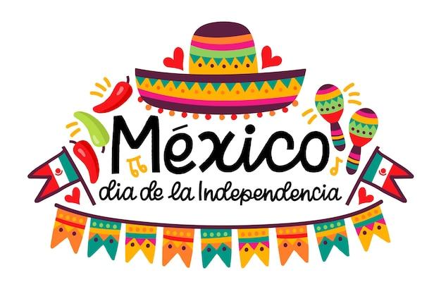 Dia da independência mexicana desenhada de mão
