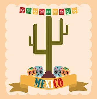 Dia da independência mexicana, desenho de crânios catrina e cacto, comemorado na ilustração de setembro