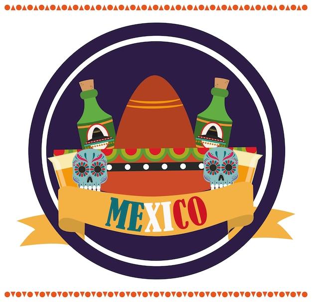 Dia da independência mexicana, garrafas de tequila com chapéu floral catrinas, comemorado na ilustração de setembro