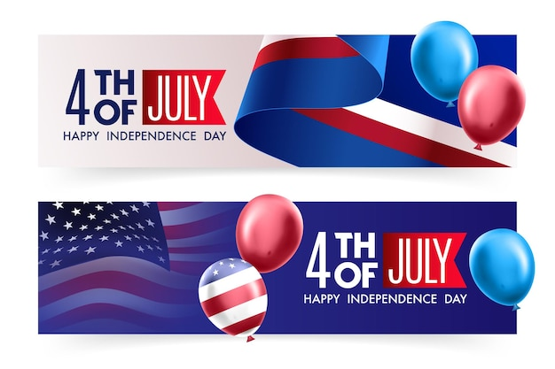 Dia da independência modelo de banner de promoção dos eua decoração de bandeira de balões americanos
