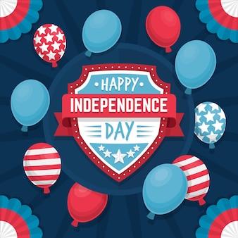 Dia da independência plana 4 de julho com balões
