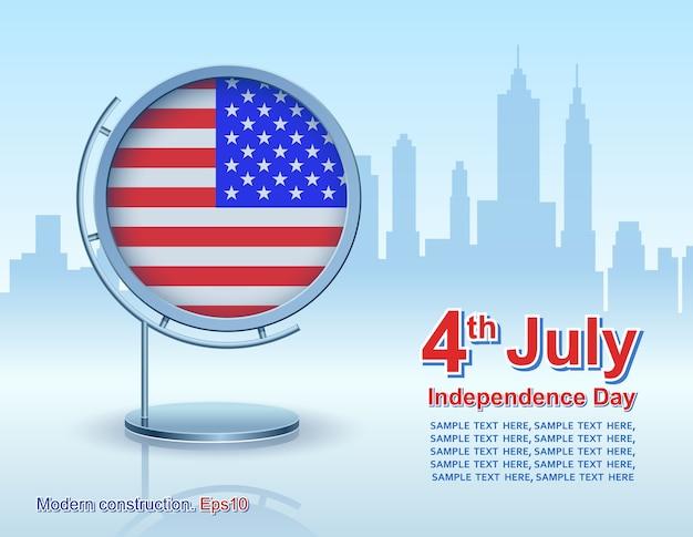 Dia da independência, quadro com bandeira Vetor Premium