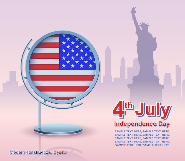 Dia da independência, quadro com bandeira