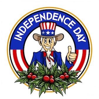 Dia da independência tio sam cartoon vetor logotipo