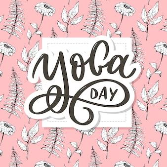 Dia da ioga de letras florais