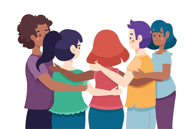 Dia da juventude com as pessoas se abraçando