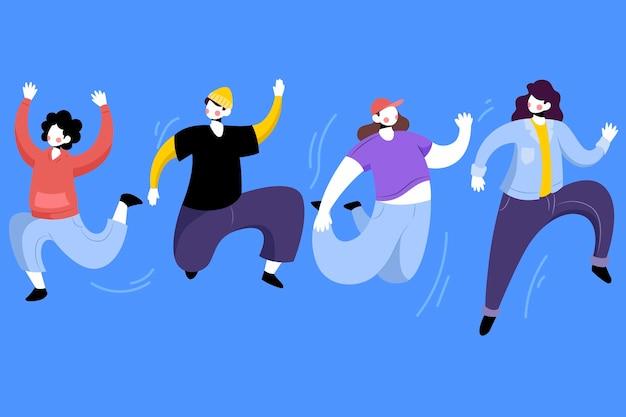 Dia da juventude com matilha de pessoas pulando
