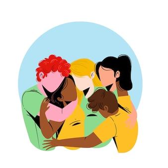 Dia da juventude com pessoas abraçando juntos