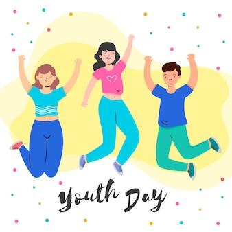Dia da juventude com pessoas pulando e confetes