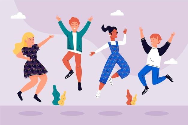 Dia da juventude com pessoas pulando juntos