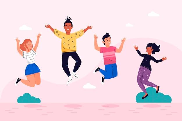 Dia da juventude com pessoas pulando
