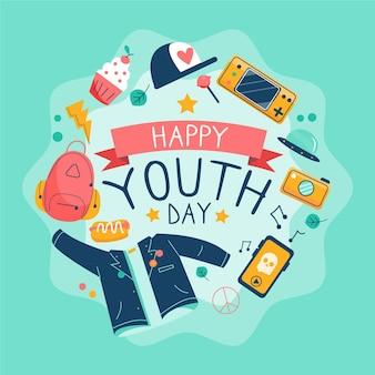 Dia da juventude com saudação e elementos