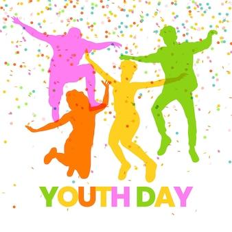 Dia da juventude com silhuetas de pessoas pulando