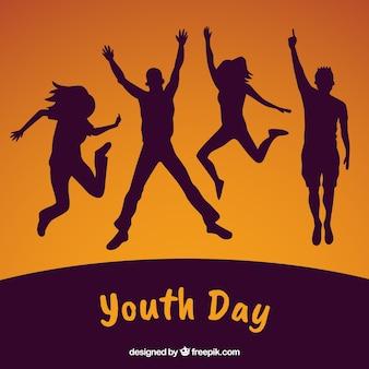 Dia da juventude com silhuetas de pessoas