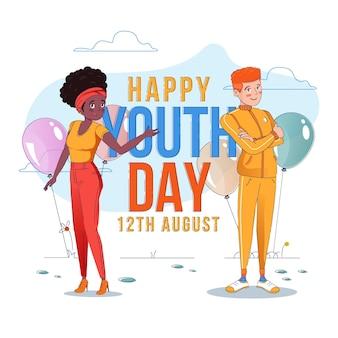 Dia da juventude de fundo de design plano