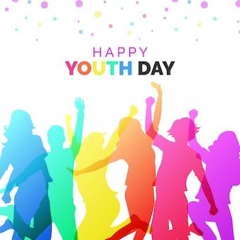 Dia da juventude de silhuetas coloridas