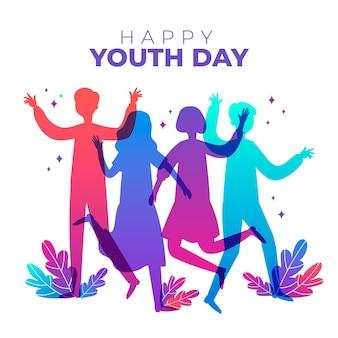 Dia da juventude de silhuetas