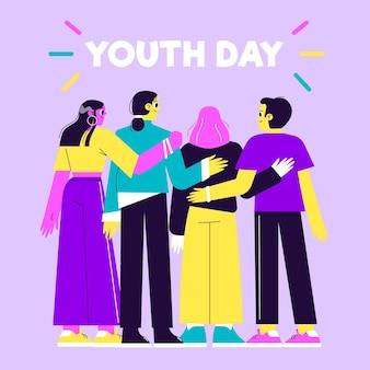 Dia da juventude desenhada de mão com pessoas abraçando juntos