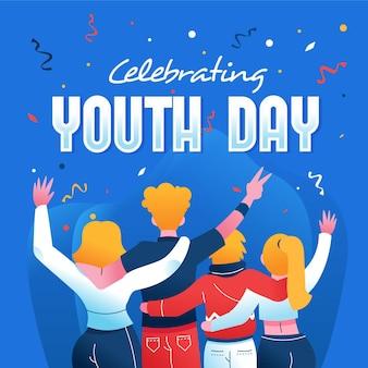 Dia da juventude desenhada de mão