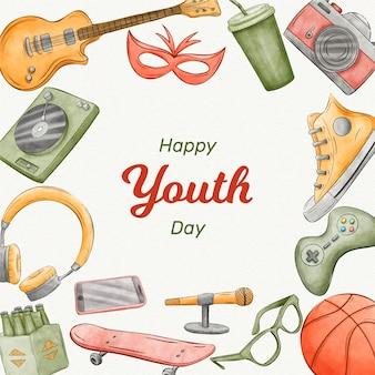 Dia da juventude em aquarela