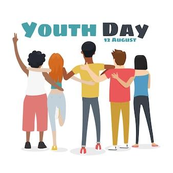 Dia da juventude mão desenhada - pessoas abraçando juntos