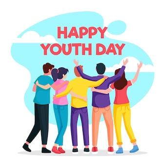 Dia da juventude pessoas abraçando ilustração