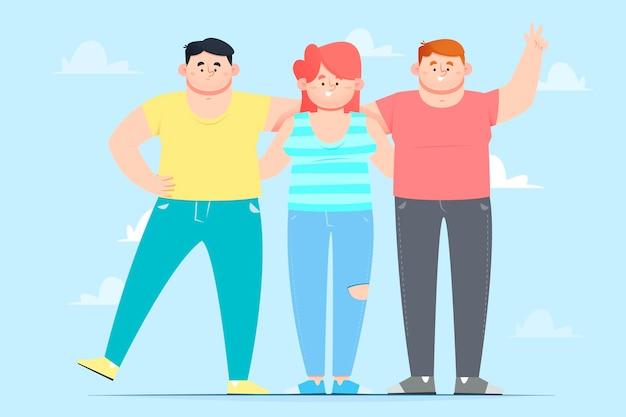 Dia da juventude - pessoas abraçando juntos