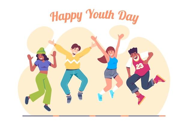 Dia da juventude pessoas pulando tema