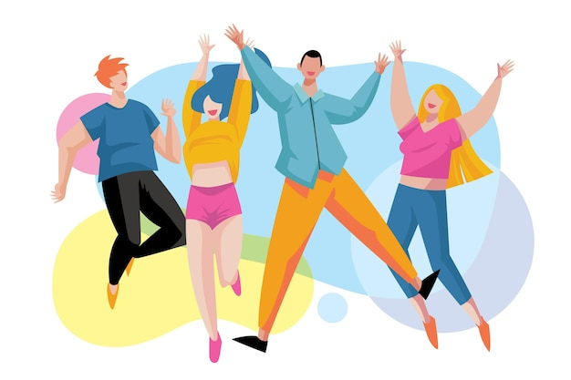 Dia da juventude pessoas pulando