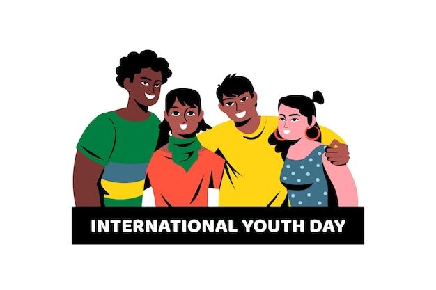 Dia da juventude plana - pessoas abraçando juntos