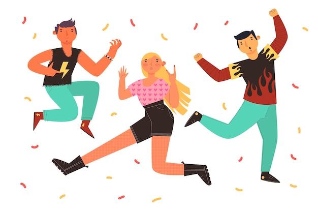 Dia da juventude plana - pessoas pulando