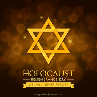 Dia da lembrança do holocausto, estrela dourada em um fundo marrom