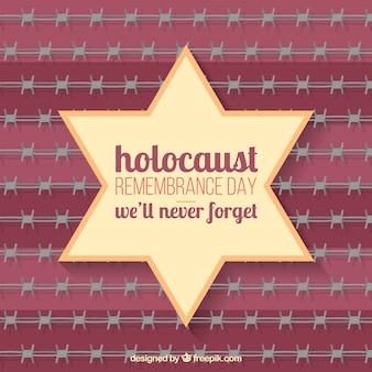 Dia da lembrança do holocausto, estrela no fundo vermelho