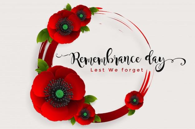 Dia da lembrança para que não esqueçamos. flor de papoula vermelha realista com papel cortado estilo arte e artesanato em fundo.