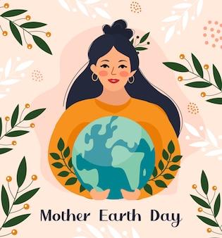 Dia da mãe terra. a garota tem o globo, o planeta em suas mãos. cuidando do conceito de natureza. ilustração vetorial.