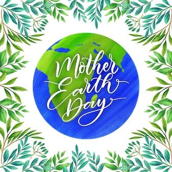 Dia da mãe terra com folhagem
