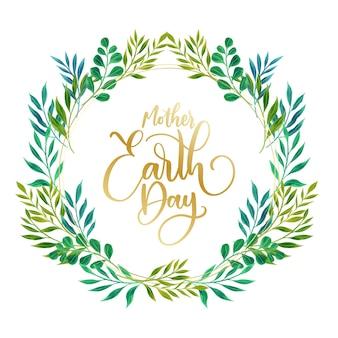Dia da mãe terra com folhas